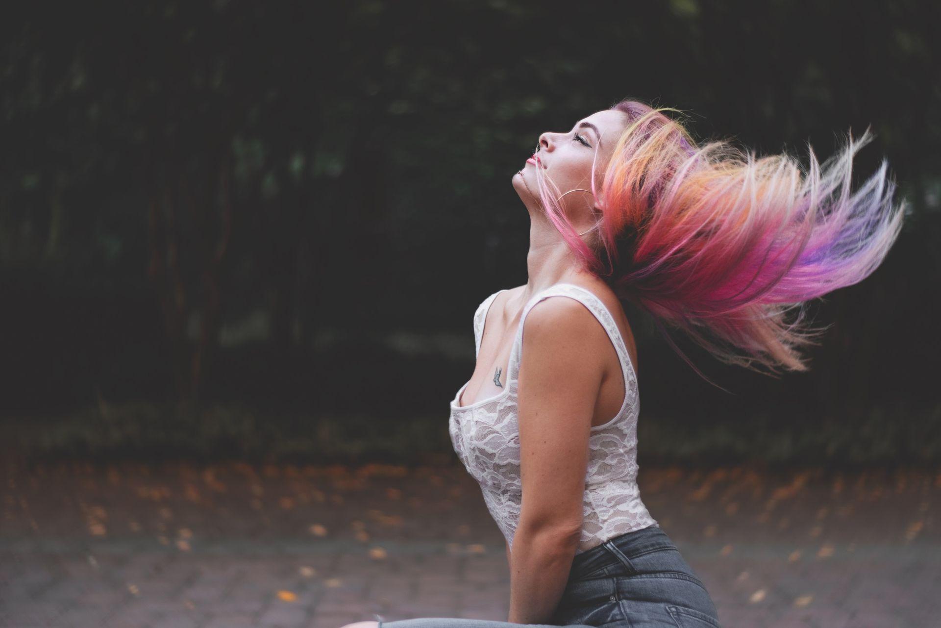 Rainbow in her hair